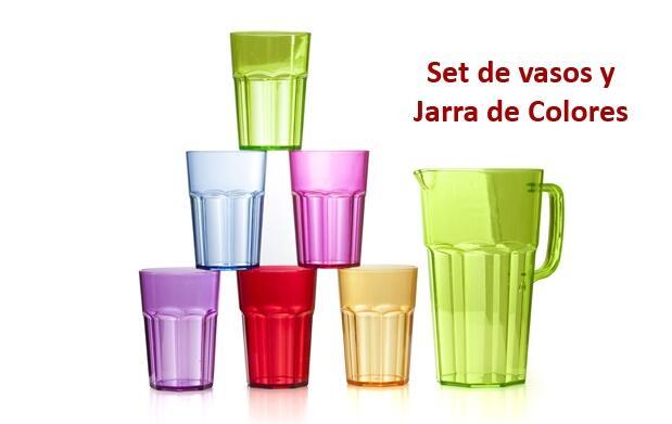 Set de Vasos y Jarra de Colores