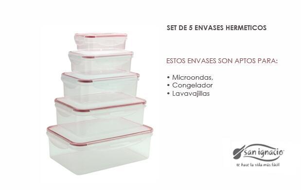 Set de 5 envases herméticos  San Ignacio