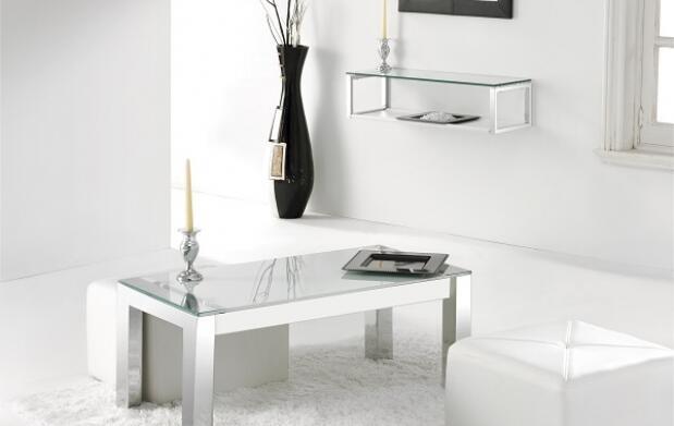 Mesa elevable de cristal y cromo para salón con montaje fácil