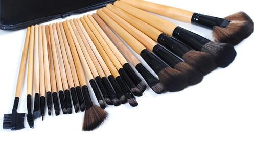 Manta de 24 pinceles de maquillaje profesional de pelo natural